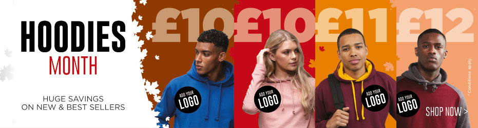 Hoodies Month. Huge savings on new and best sellers. Add your logo FREE