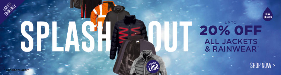 Splash out. Up to 20% OFF all Jackets & Rainwear. Limited time only