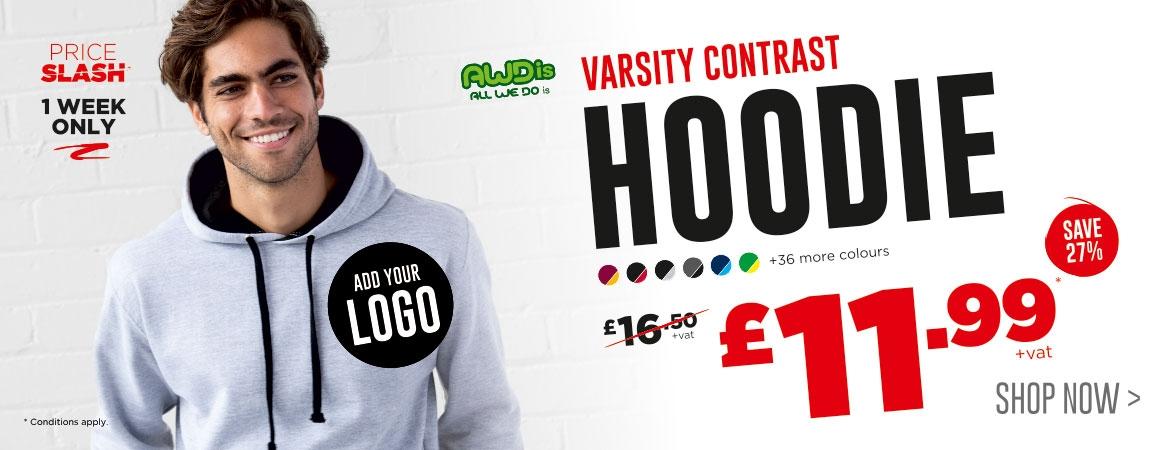 Price Slash on the AWDis Varsity Contrast Hoodie! Now just £11.99