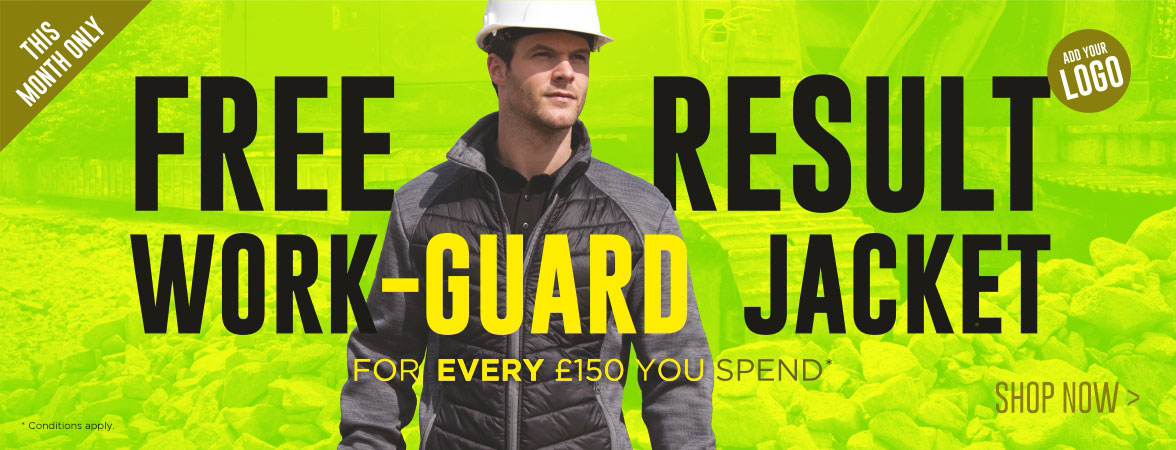 FREE Result Work-Guard Elevator Jacket for EVERY £150 you spend. This month only