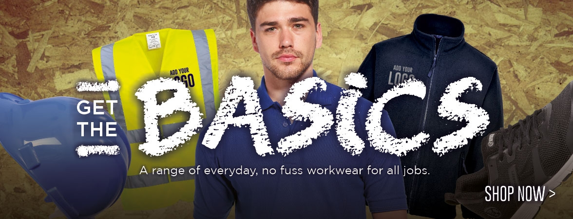 Cut out the fuss. Get the basics. Everyday workwear with your logo added FREE